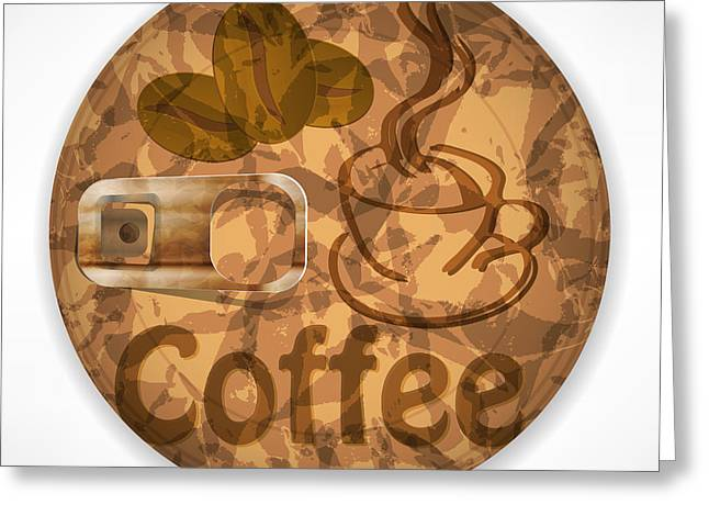 Coffee Lid Isolated On White Background Greeting Card