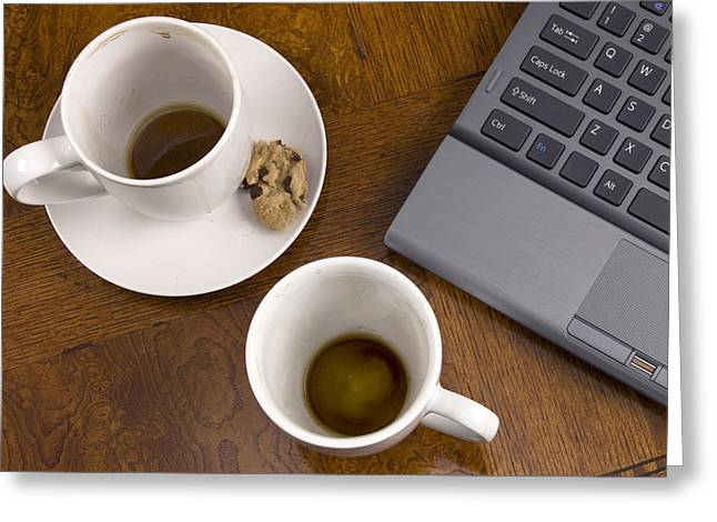 Coffee Mugs And Stress With Laptop Greeting Card by Joe Belanger
