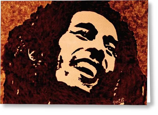 Coffee Painting Bob Marley Greeting Card