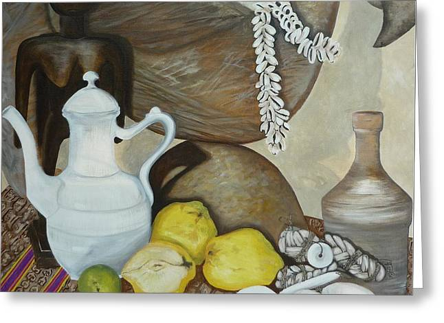 Greeting Card featuring the painting Coffee Pot by Helen Syron