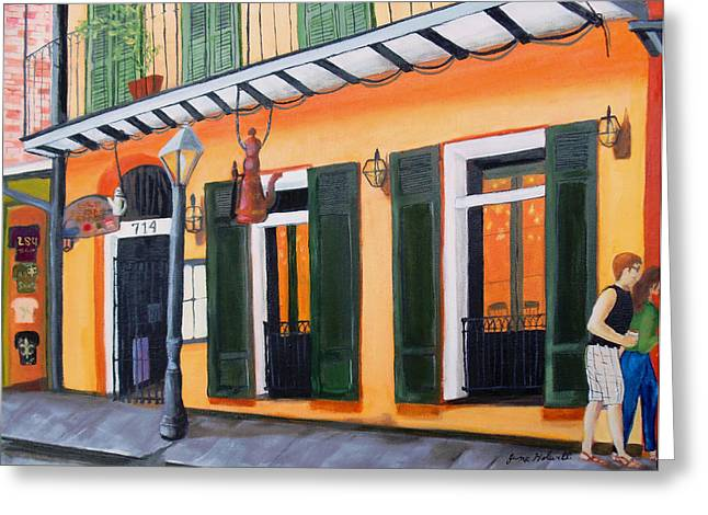 Coffee Pot Restaurant-french Quarter Greeting Card by June Holwell