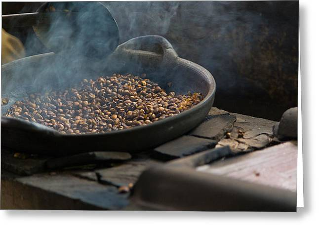 Greeting Card featuring the photograph Coffee Roasting - Bali by Matthew Onheiber