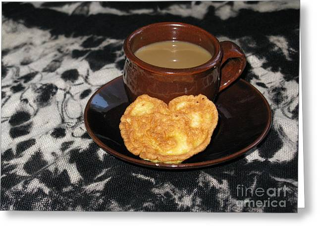 Coffee Served With Love Greeting Card by Ausra Huntington nee Paulauskaite