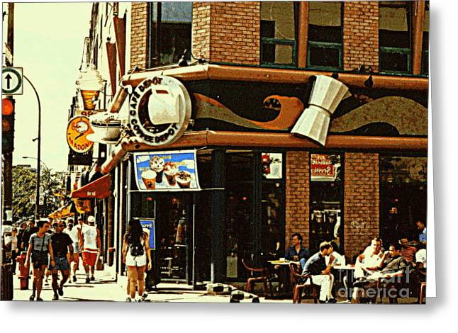 Coffee Shop Ice Cream Parlor Cafe Depot St.laurent And Prince Arthur Summer Montreal Cafe Scene Greeting Card by Carole Spandau