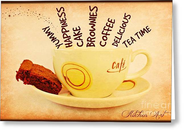 Coffee Time Greeting Card by Clare Bevan