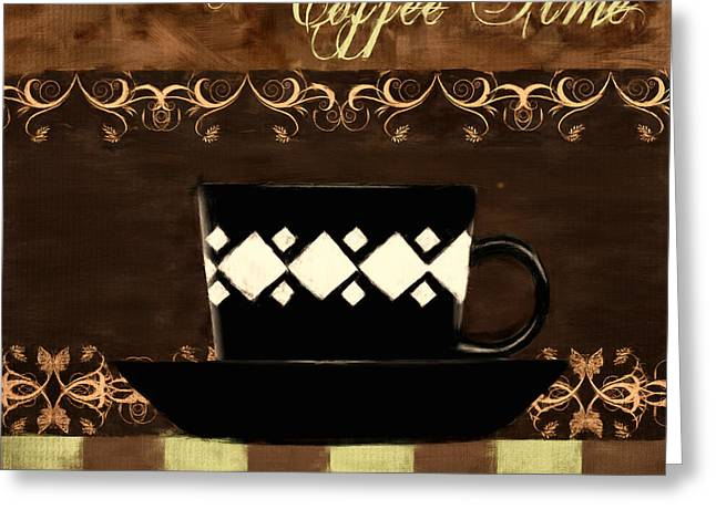 Coffee Time Greeting Card by Lourry Legarde