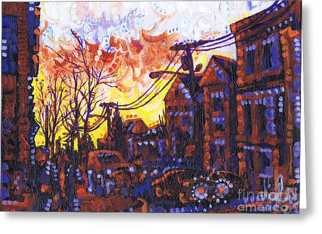 Coffee Time Sunset Greeting Card by Michael Ciccotello