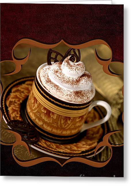 Coffee With Whipped Topping And Chocolates Greeting Card by Iris Richardson