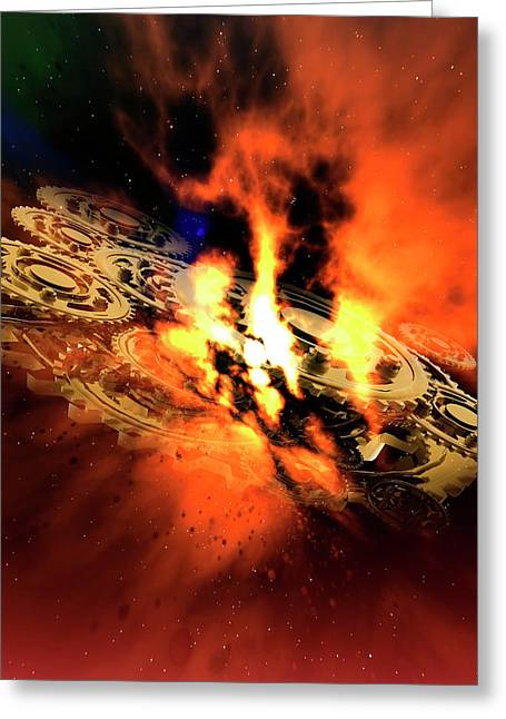 Cogs And Flames Greeting Card by Victor Habbick Visions/science Photo Library