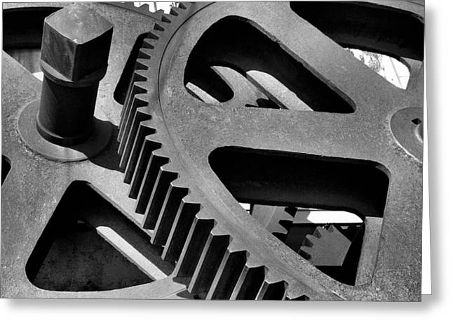 Greeting Card featuring the photograph Cogwheels In Black And White by Nadalyn Larsen