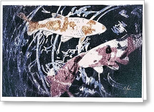 Coi Carp Greeting Card by Barry Johansen
