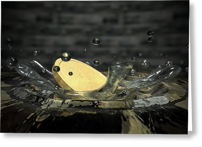 Coin Hitting Water Splash Greeting Card by Allan Swart