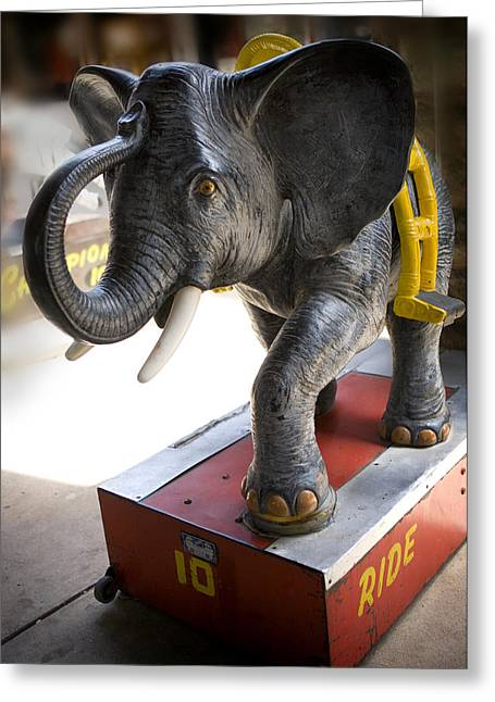 Coin Operated Elephant Greeting Card by Marilyn Hunt