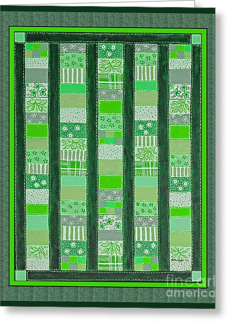 Coin Quilt - Painting - Green Patches Greeting Card