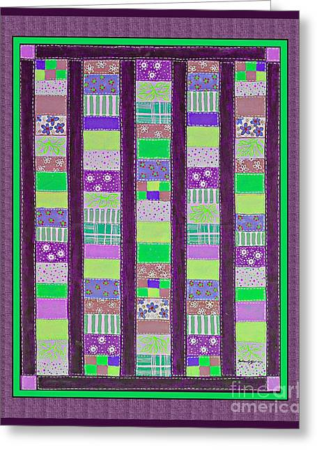 Coin Quilt - Quilt Painting - Purple And Green Patches Greeting Card by Barbara Griffin