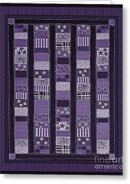 Coin Quilt -quilt Painting - Purple Patches Greeting Card by Barbara Griffin