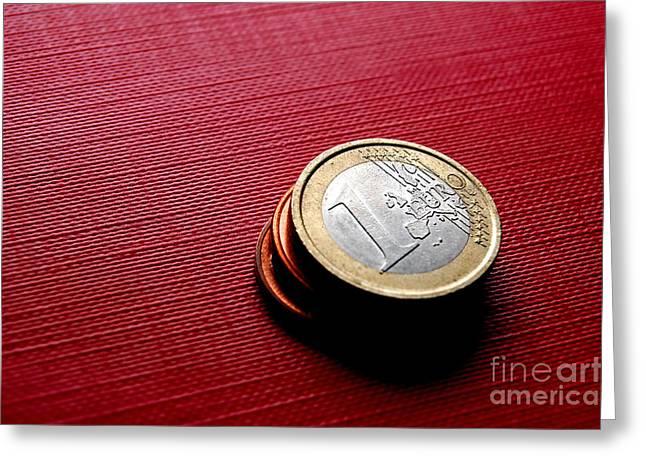 Coins Euro Greeting Card by Michal Bednarek