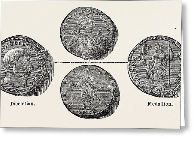 Coins Of The Roman Republic And The Empire Greeting Card by English School