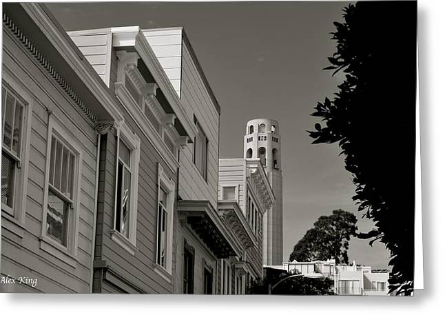 Coit Tower Greeting Card by Alex King