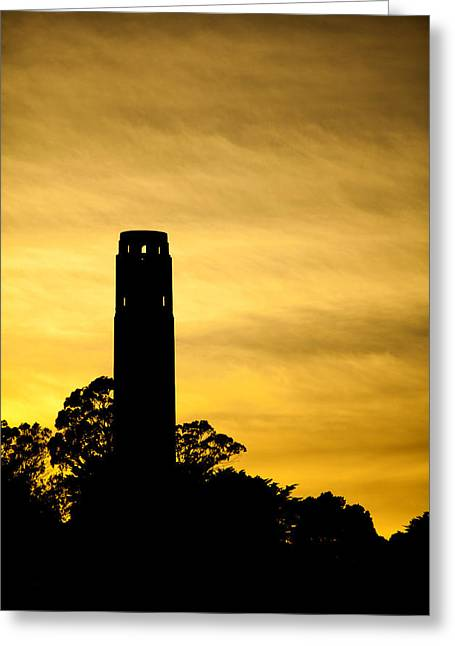 Coit Tower Silhouette Greeting Card by SFPhotoStore