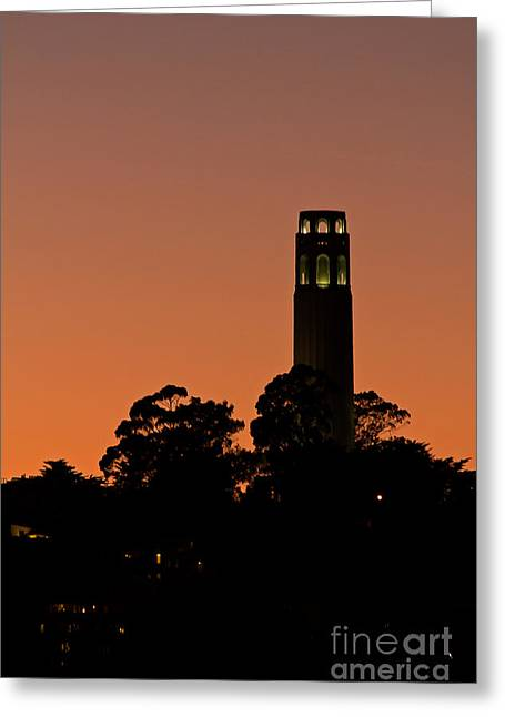 Greeting Card featuring the photograph Coit Tower Sunset by Kate Brown