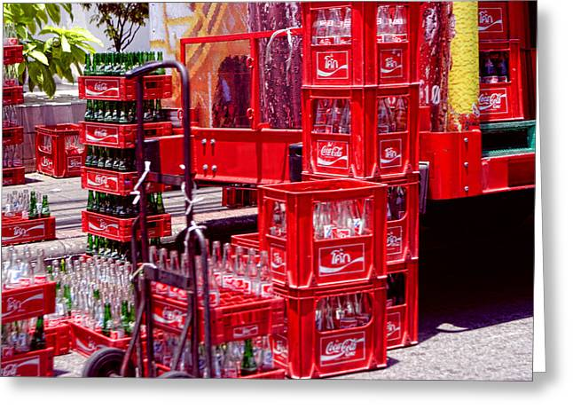 Coke As Sceen In Bangkok Thailand Greeting Card by Linda Phelps
