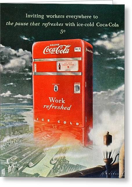 Coke - Coca Cola Vintage Advert Greeting Card by Georgia Fowler