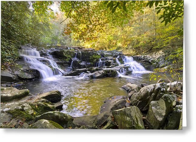 Coker Creek Falls Greeting Card by Debra and Dave Vanderlaan