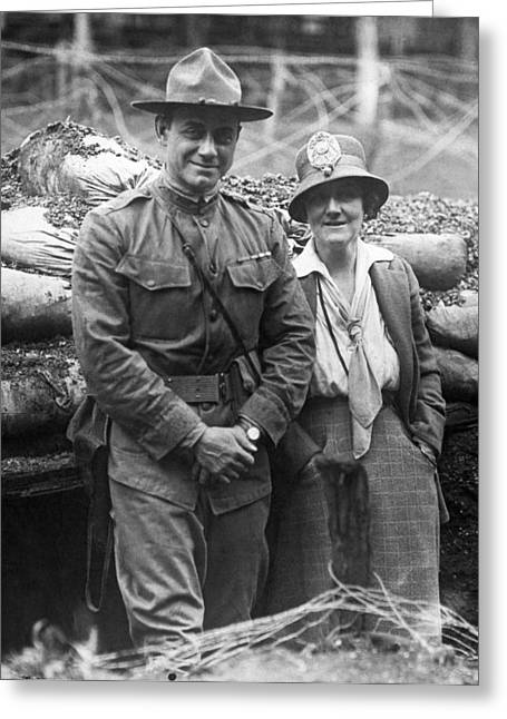 Col. Hayward And Sculptor Greeting Card by Underwood Archives