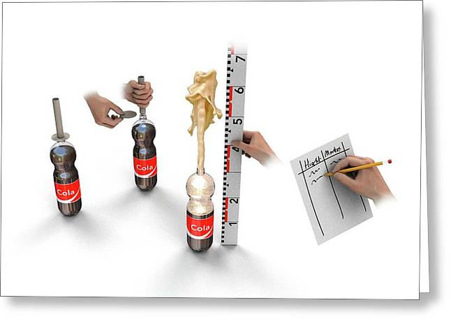 Cola And Mentos Experiment Greeting Card by Mikkel Juul Jensen