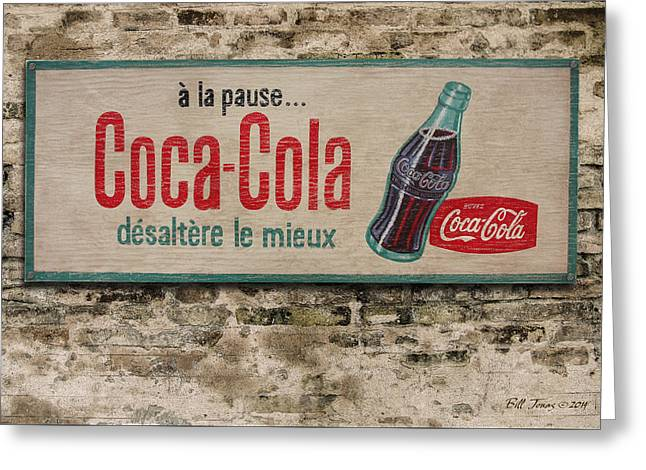 Cola Sign Greeting Card by Bill Jonas