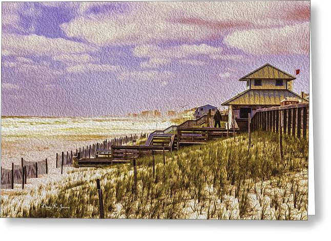 Waterfront - Coastal - Cold And Windy At The Beach Greeting Card by Barry Jones
