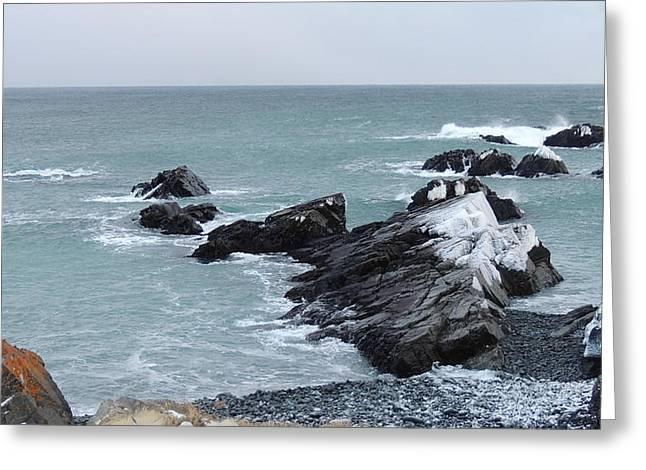 Cold Atlantic Rocks Greeting Card by Bozena Zajaczkowska
