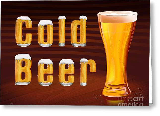 Cold Beer Greeting Card by Bedros Awak