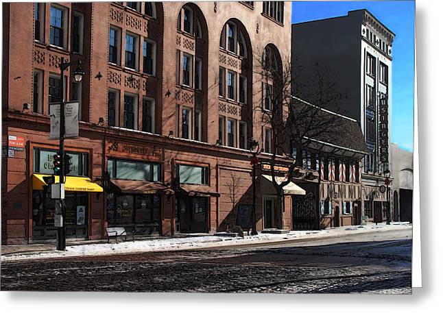 Cold Clear Morning On Old World 3rd Street In Milwaukee Wisconsin Greeting Card by David Blank