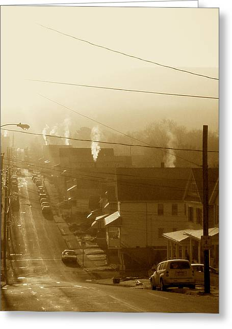 Cold Coal Town Morning Greeting Card by Feva  Fotos