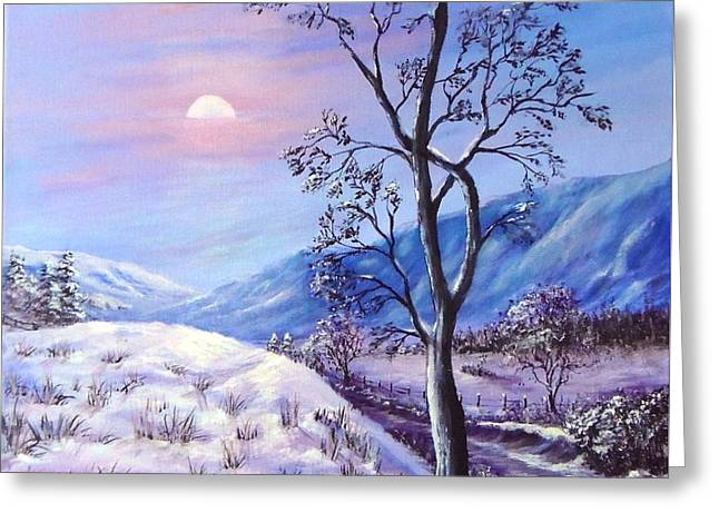 Greeting Card featuring the painting Cold Evening by Bozena Zajaczkowska