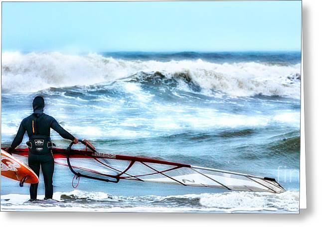 Cold Feet - Stormy Seas - Outer Banks Greeting Card