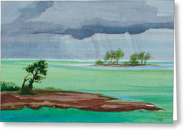Cold Front In Islamorada Watercolor Painting Greeting Card