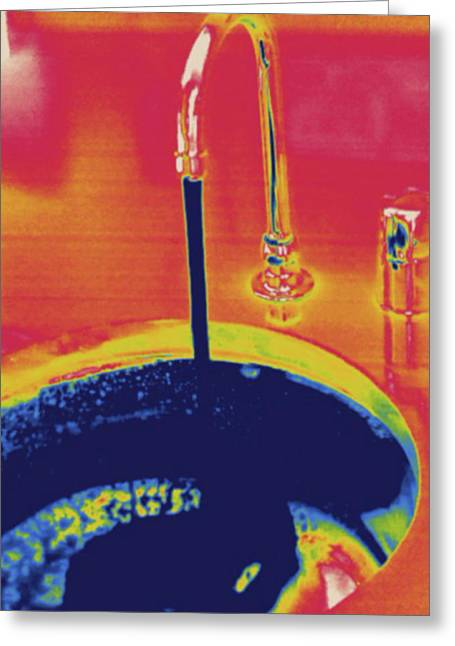 Cold Running Water, Thermogram Greeting Card by Science Stock Photography