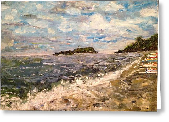Greeting Card featuring the painting Cold Sea On A Sunny Day by Belinda Low