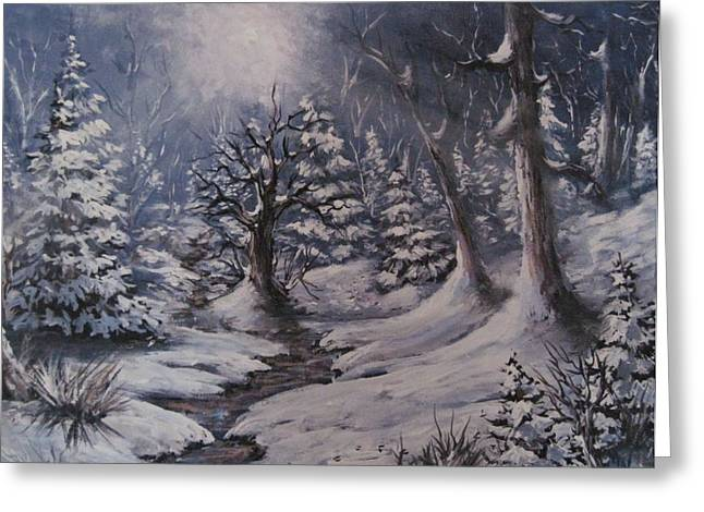 Greeting Card featuring the painting Cold Snap by Megan Walsh