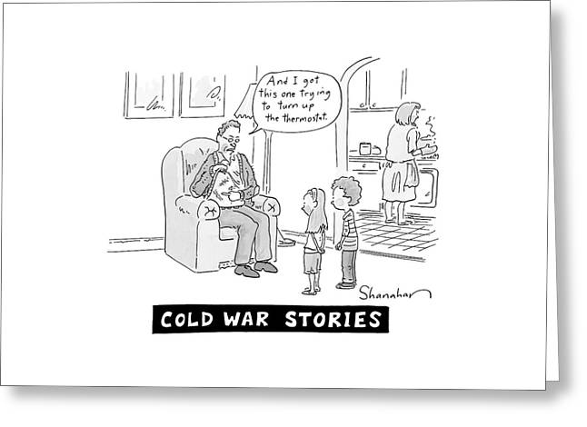 Cold War Stories. An Old Man Shows Children Scars Greeting Card by Danny Shanahan
