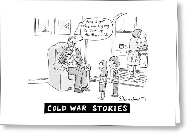 Cold War Stories. An Old Man Shows Children Scars Greeting Card