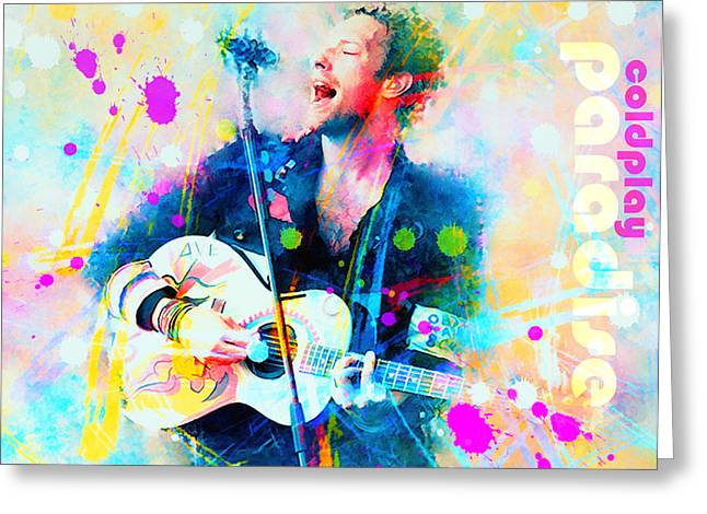 Coldplay Paradise Greeting Card by Rosalina Atanasova