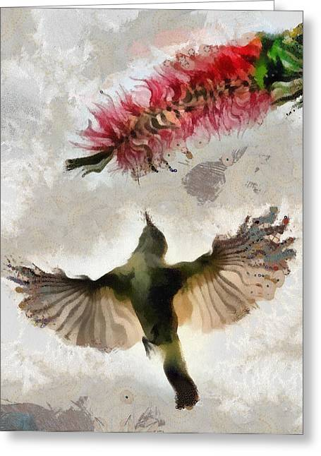 Greeting Card featuring the painting Colibri by Georgi Dimitrov
