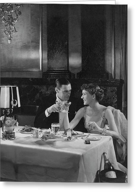 Colin Clive And Rose Hobart At Waldorf Greeting Card by Edward Steichen