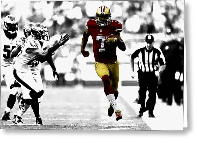Colin Kaepernick On The Move Greeting Card by Brian Reaves