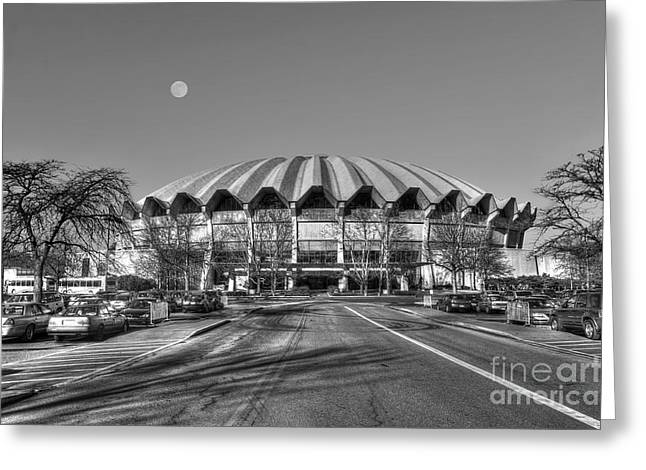 Coliseum Black And White With Moon Greeting Card by Dan Friend