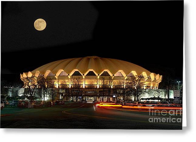 Coliseum Night With Full Moon Greeting Card by Dan Friend